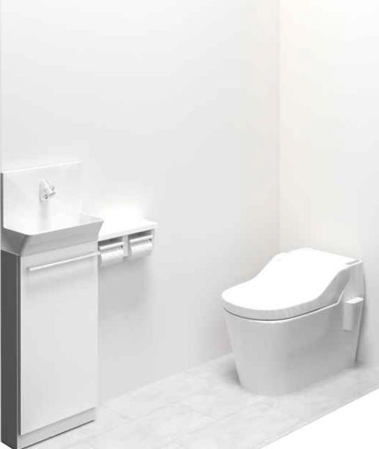 タンクレスですっきり!独立手洗いなのでタンク上で手を洗うより、お子様でもラクラク手洗い。