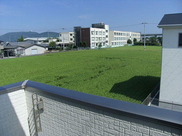 バルコニーからの眺め。檀紙小学校がよく見えます。