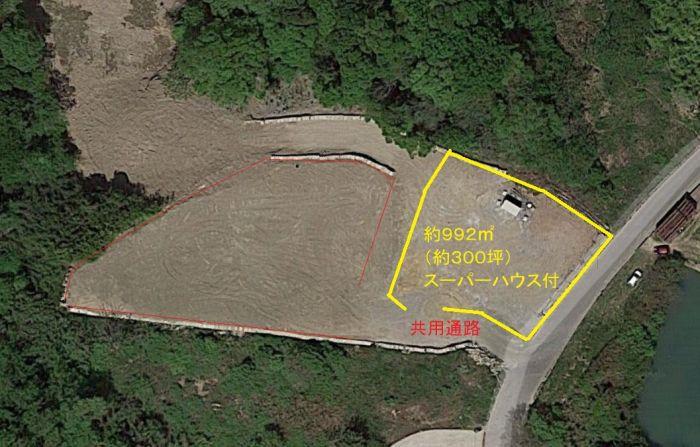 黄色の部分が対象地です。進入路6.5mは奥の敷地と共同利用です。
