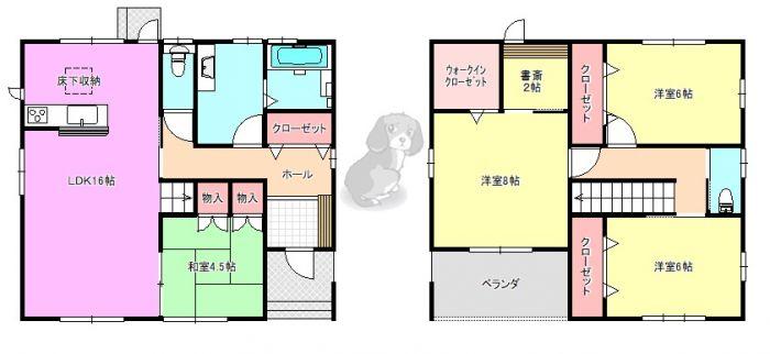 2階に洋室3部屋と書斎のあるの4SLDK。